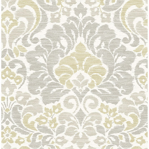 Garden of Eden Damask Wallpaper in Yellow from the Celadon Collection by Brewster Home Fashions