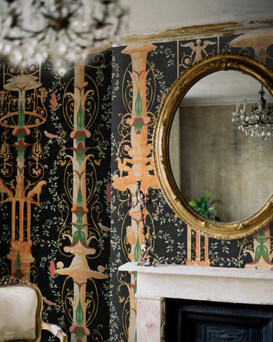 Gardens of Pompeii Wallpaper in Black and Multi from the World of Antiquity Collection by Mind the Gap