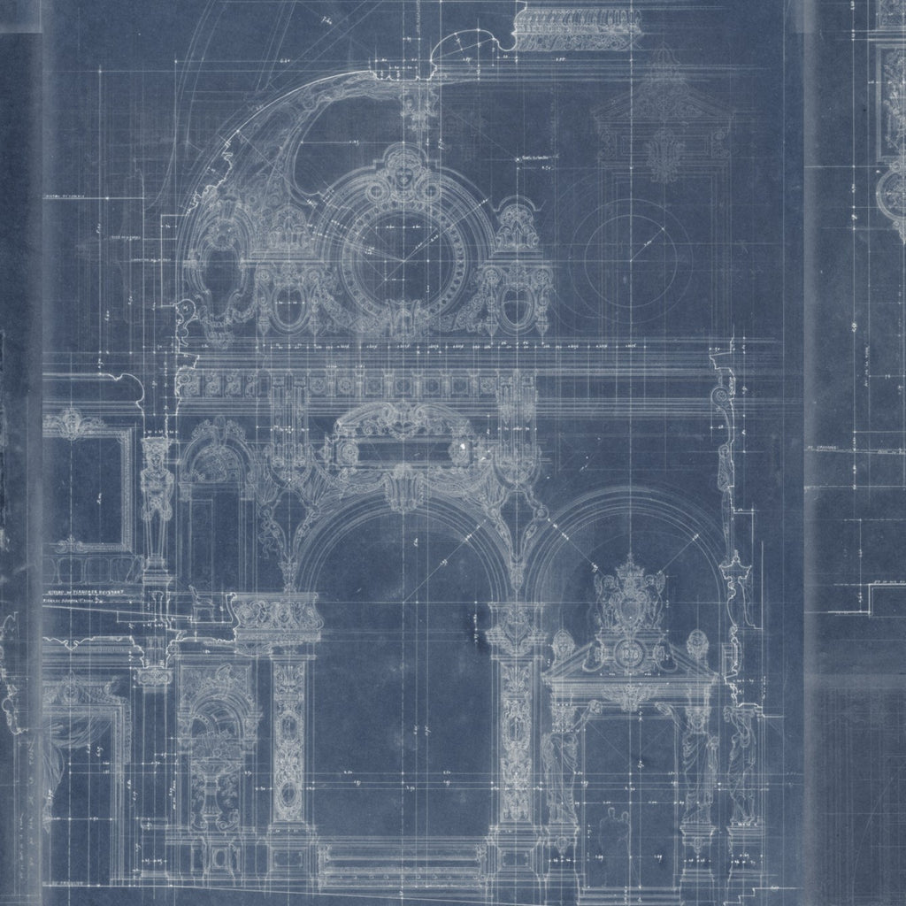 Sample Garnier Wallpaper in Blue from the Histoire de L'Architecture Collection by Mind the Gap