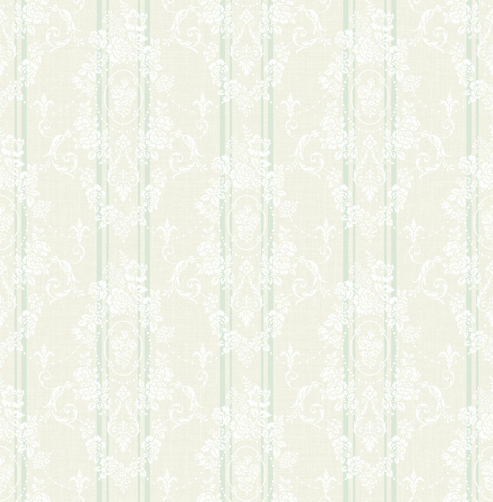 Sample Gated Garden Wallpaper in Soft Green from the Spring Garden Collection by Wallquest
