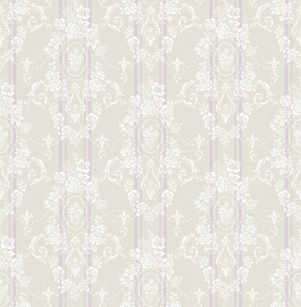 Sample Gated Garden Wallpaper in Violet from the Spring Garden Collection by Wallquest