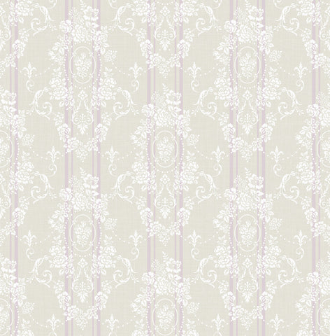 Gated Garden Wallpaper in Violet from the Spring Garden Collection by Wallquest