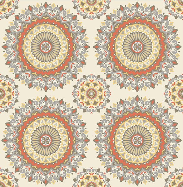 Sample Gemma Coral Boho Medallion Wallpaper from the Kismet Collection by Brewster Home Fashions