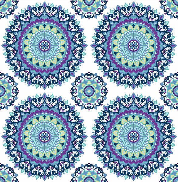 Sample Gemma Indigo Boho Medallion Wallpaper from the Kismet Collection by Brewster Home Fashions