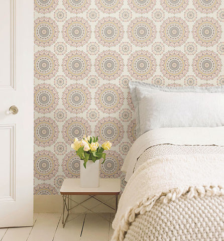 Gemma Light Pink Boho Medallion Wallpaper from the Kismet Collection by Brewster Home Fashions