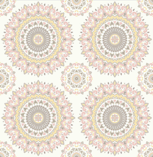 Sample Gemma Light Pink Boho Medallion Wallpaper from the Kismet Collection by Brewster Home Fashions