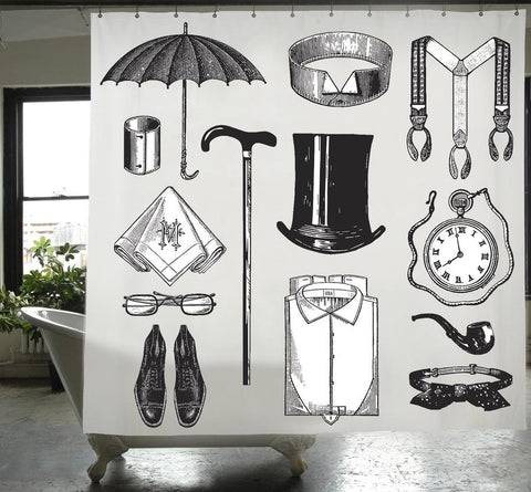 Gentleman Canvas Shower Curtain design by Izola