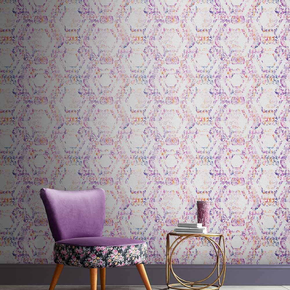 Geo Damask Wallpaper in Lilac from the Exclusives Collection by Graham & Brown