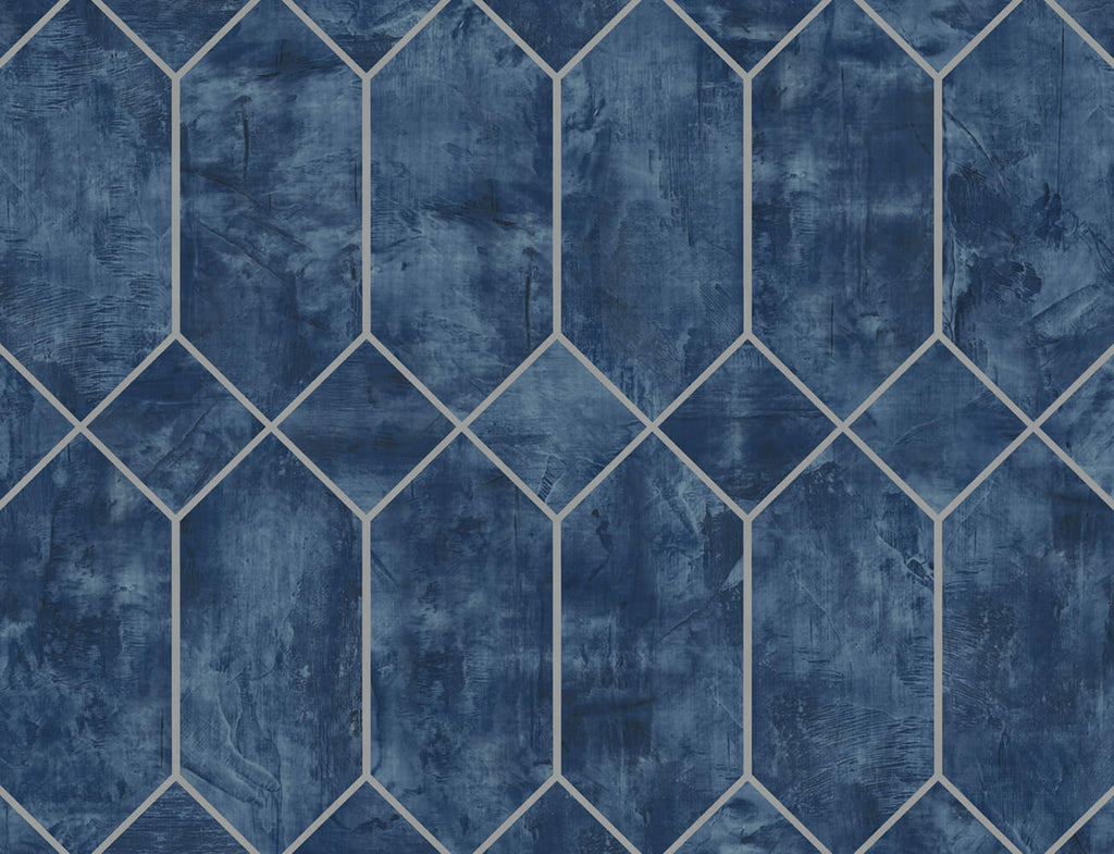 Geo Faux Wallpaper in Denim Blue and Metallic Silver from the Living With Art Collection by Seabrook Wallcoverings