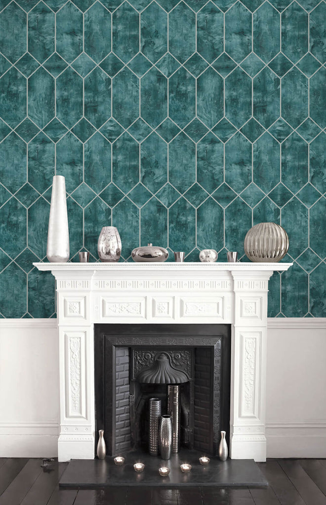 Geo Faux Wallpaper in Emerald and Metallic Silver from the Living With Art Collection by Seabrook Wallcoverings
