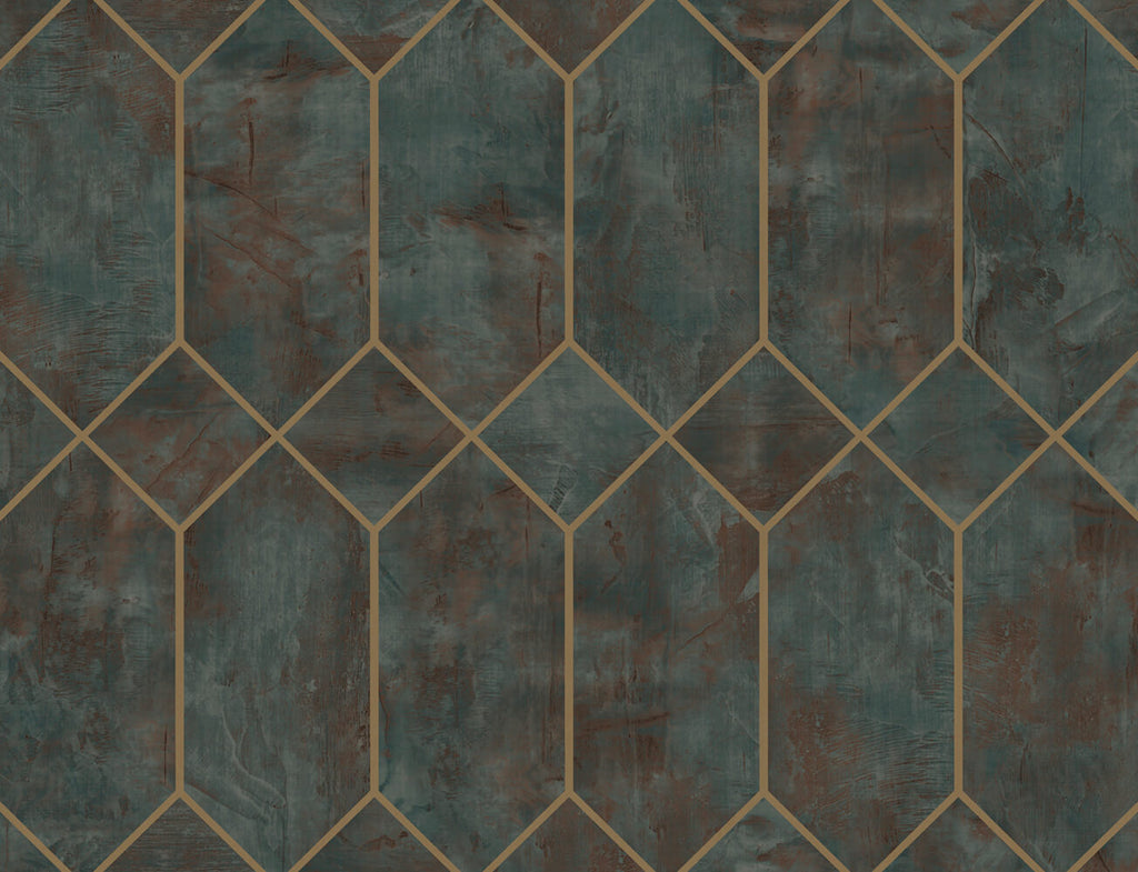 Geo Faux Wallpaper in Rust, Forest Green, and Metallic Gold from the Living With Art Collection by Seabrook Wallcoverings