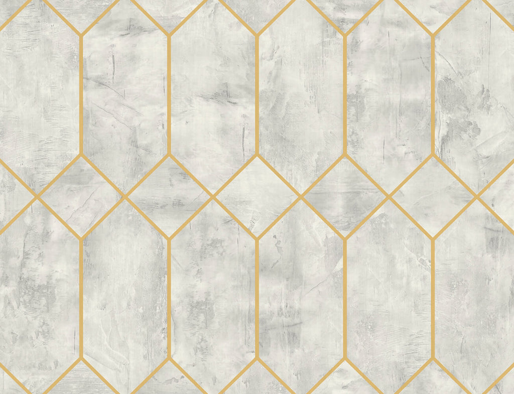 Geo Faux Wallpaper in Silver Birch and Metallic Gold from the Living With Art Collection by Seabrook Wallcoverings