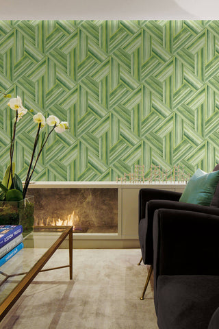 Geo Inlay Wallpaper in Chartreuse and Basil from the Living With Art Collection by Seabrook Wallcoverings