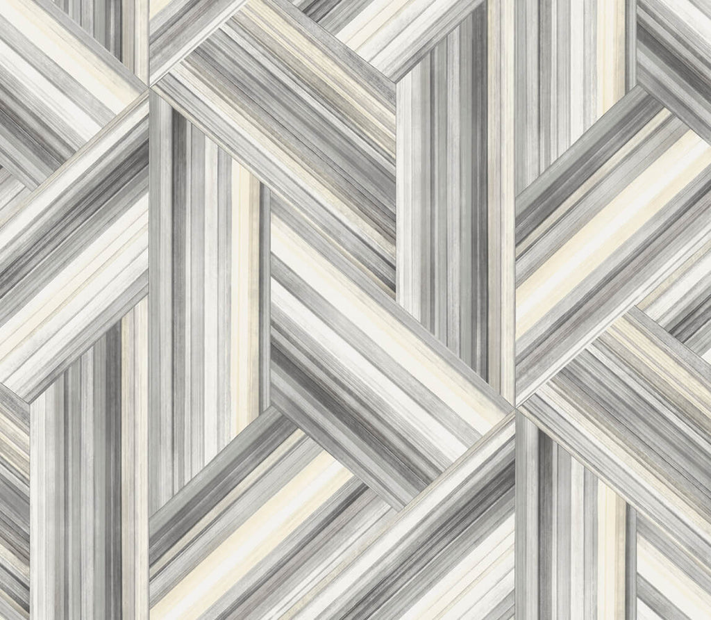 Sample Geo Inlay Wallpaper in Cove Grey and Carrara from the Living With Art Collection by Seabrook Wallcoverings