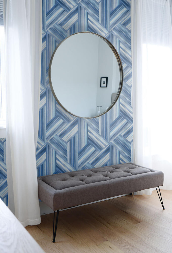 Geo Inlay Wallpaper in Denim and Sky Blue from the Living With Art Collection by Seabrook Wallcoverings