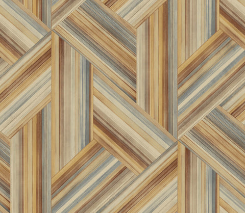 Geo Inlay Wallpaper in Saddle Brown and Steel from the Living With Art Collection by Seabrook Wallcoverings