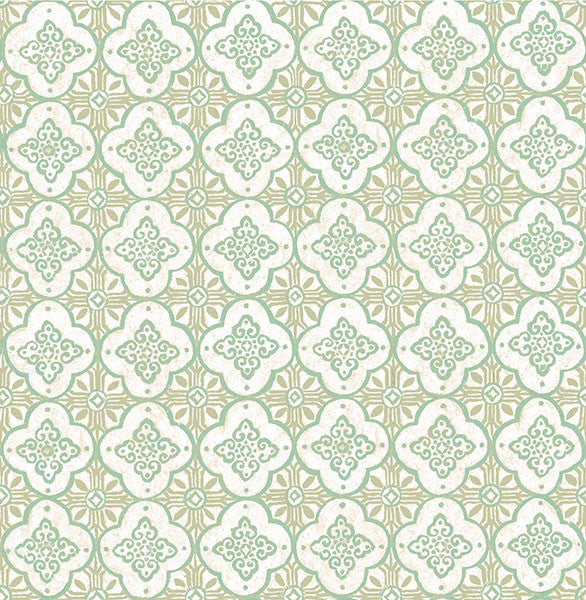 Sample Geo Green Quatrefoil Wallpaper from the Kismet Collection by Brewster Home Fashions