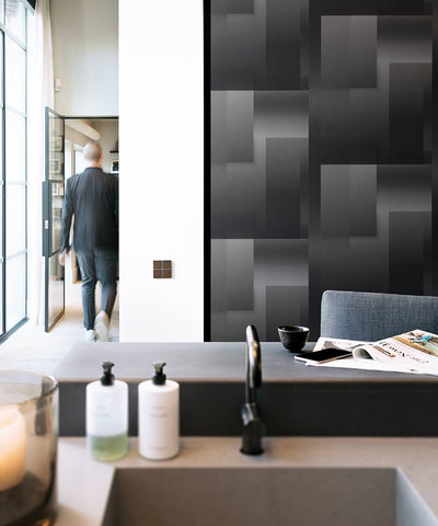 Geo Modern Wallpaper in Black and Grey from the Loft Collection by Burke Decor