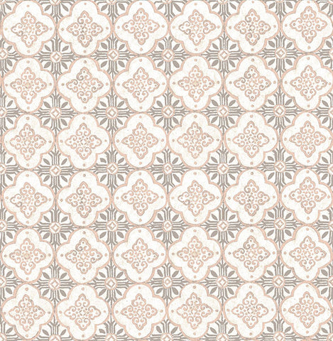 Geo Pink Quatrefoil Wallpaper from the Kismet Collection by Brewster Home Fashions