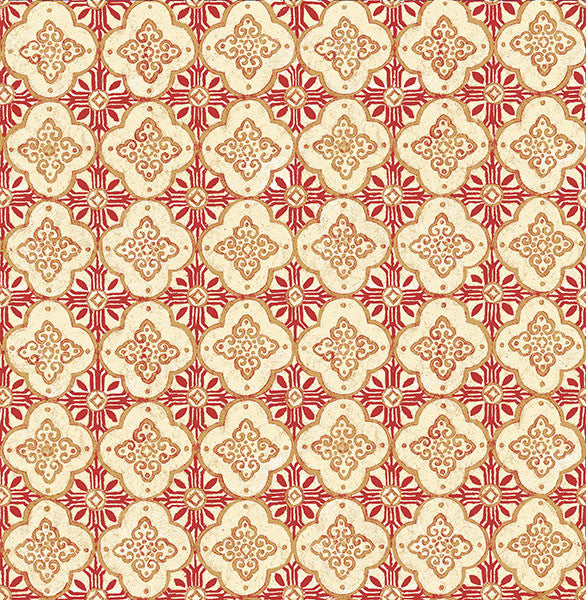 Geo Red Quatrefoil Wallpaper from the Kismet Collection by Brewster Home Fashions