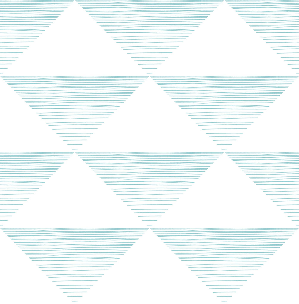 Sample Geo Stripe Wallpaper in Teal from the Day Dreamers Collection by Seabrook Wallcoverings