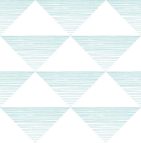 Geo Stripe Wallpaper in Teal from the Day Dreamers Collection by Seabrook Wallcoverings