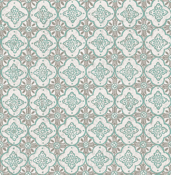 Sample Geo Turquoise Quatrefoil Wallpaper from the Kismet Collection by Brewster Home Fashions