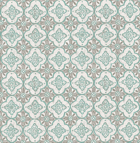 Geo Turquoise Quatrefoil Wallpaper from the Kismet Collection by Brewster Home Fashions