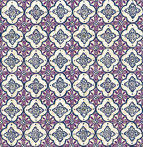 Geo Violet Quatrefoil Wallpaper from the Kismet Collection by Brewster Home Fashions