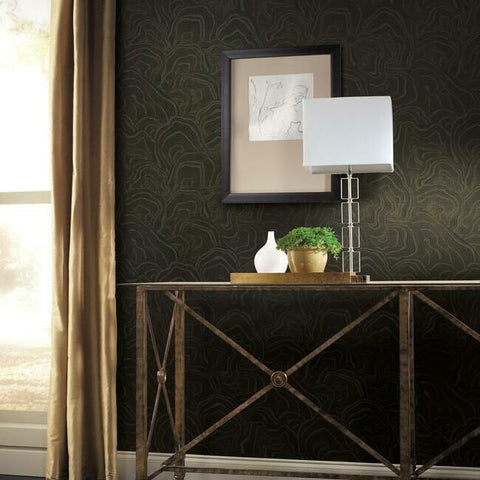 Geodes Wallpaper in Black from the Ronald Redding 24 Karat Collection by York Wallcoverings