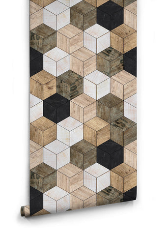 Sample Geometric Timber Cube Wallpaper from the Kemra Collection design by Milton & King