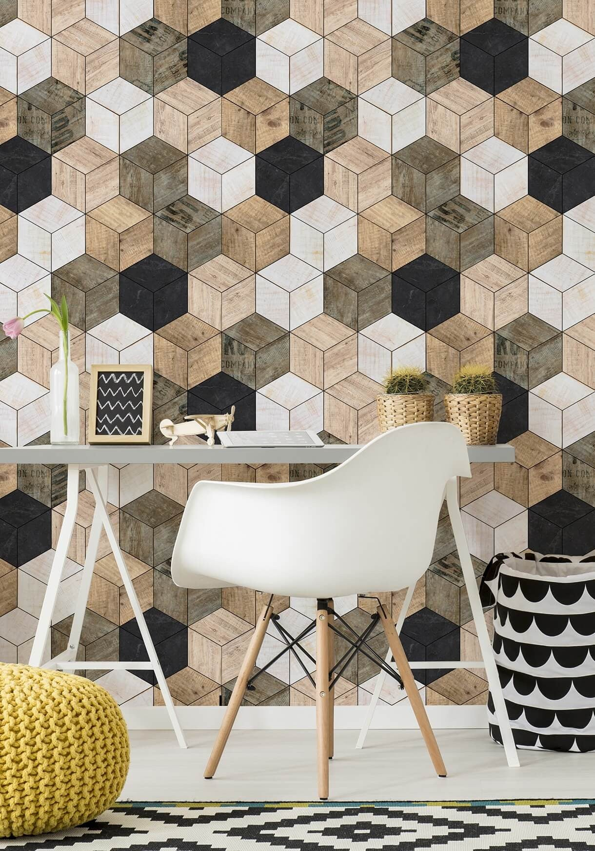 Geometric Timber Cube Wallpaper From The Kemra Collection Design By Milton King