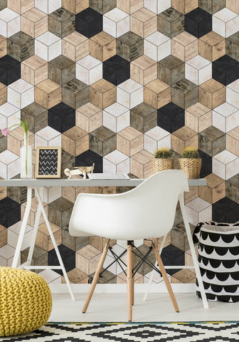 Geometric Timber Cube Wallpaper from the Kemra Collection design by Milton & King