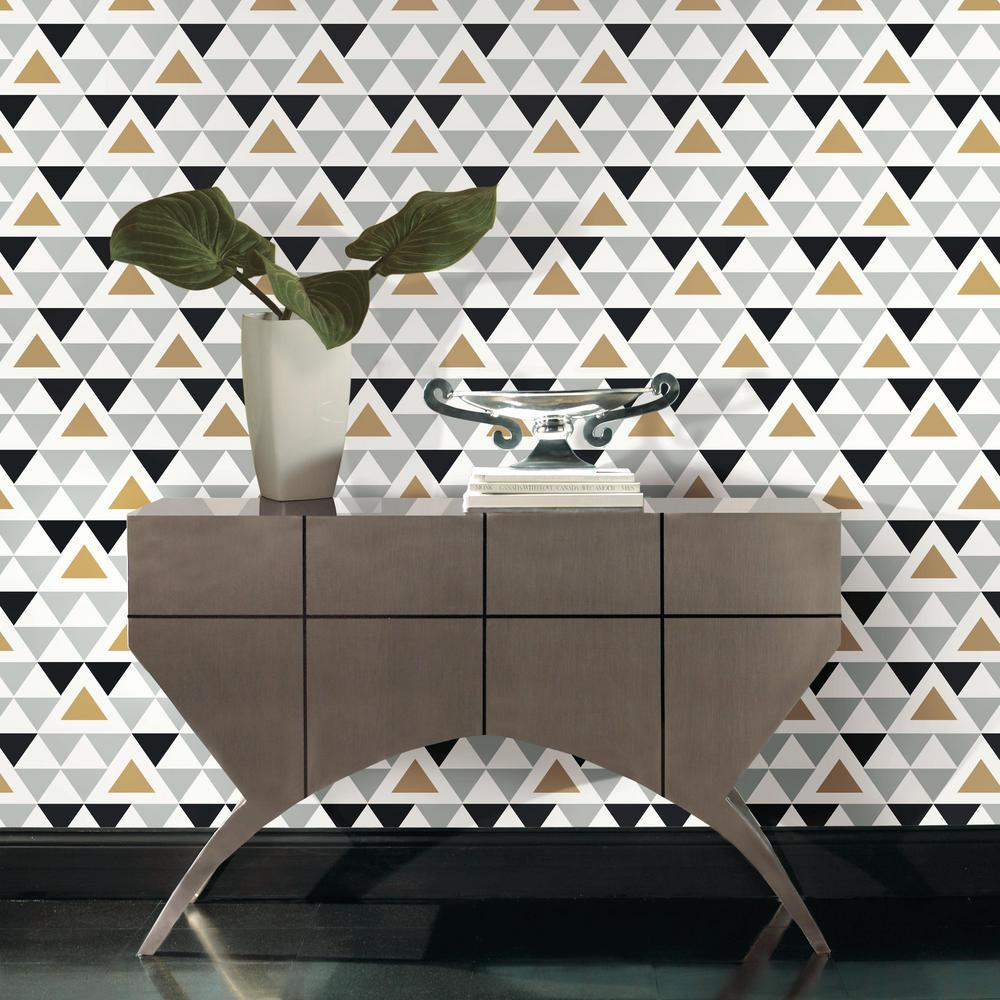 Geometric Triangle Peel & Stick Wallpaper in Grey, Black, and Gold by RoomMates for York Wallcoverings