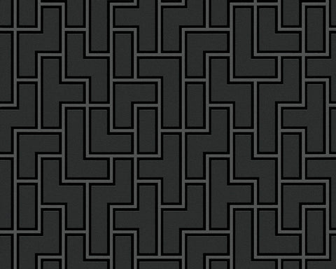 Geometric Wallpaper in Black and Metallic design by BD Wall