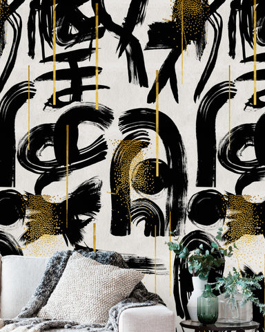 Gestural Abstraction Wallpaper in White, Black, and Gold from the Wallpaper Collectables Collection by Mind the Gap