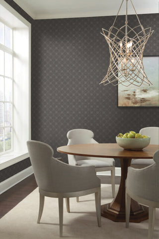 Gilded Wallpaper in Graphite from the Moderne Collection by Stacy Garcia for York Wallcoverings