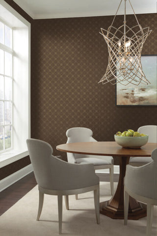 Gilded Wallpaper in Walnut from the Moderne Collection by Stacy Garcia for York Wallcoverings