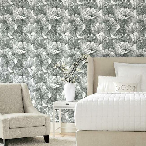 Gingko Leaves Peel & Stick Wallpaper in Black and White by RoomMates for York Wallcoverings