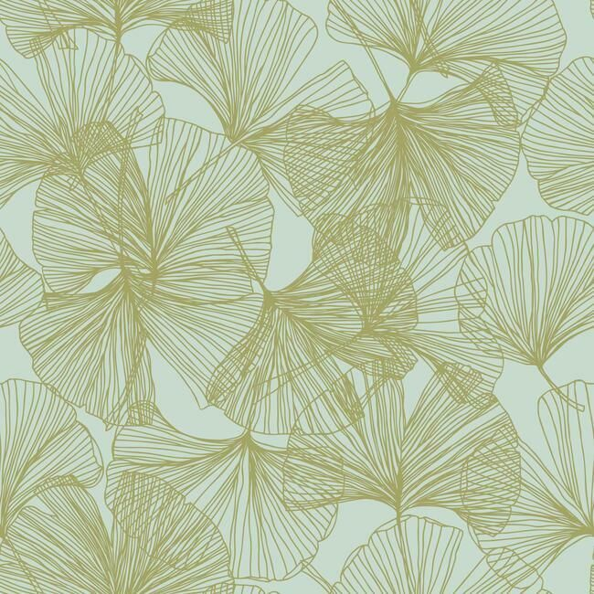 Gingko Leaves Peel & Stick Wallpaper in Green and Gold by RoomMates for York Wallcoverings
