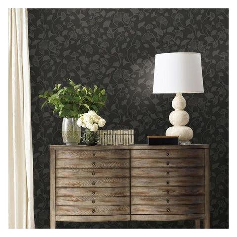 Gingko Trail Wallpaper in Black from the Botanical Dreams Collection by Candice Olson for York Wallcoverings