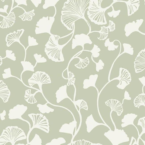 Gingko Trail Wallpaper in Green from the Botanical Dreams Collection by Candice Olson for York Wallcoverings
