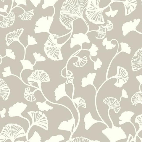 Gingko Trail Wallpaper in Silver from the Botanical Dreams Collection by Candice Olson for York Wallcoverings
