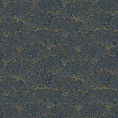 Sample Ginko Biloba Leaves Wallpaper in Navy by Walls Republic