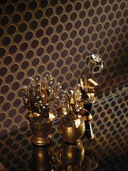 Gioconda Wallpaper in Chocolate and Gold by Nina Campbell for Osborne & Little