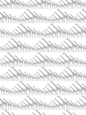 Giraffe Wallpaper in Silver Metallic by Marley + Malek Kids