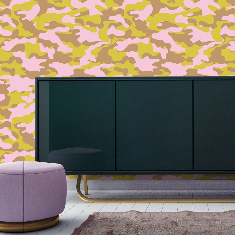 Glammo Self Adhesive Wallpaper in Pink, Lemon, and Gold by Cynthia Rowley for Tempaper