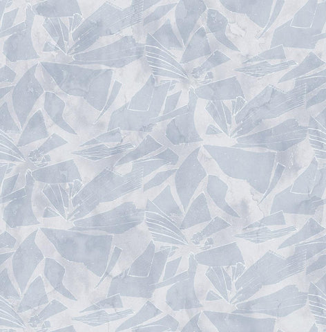 Glass Wallpaper in Blue and Silver from the Transition Collection by Mayflower