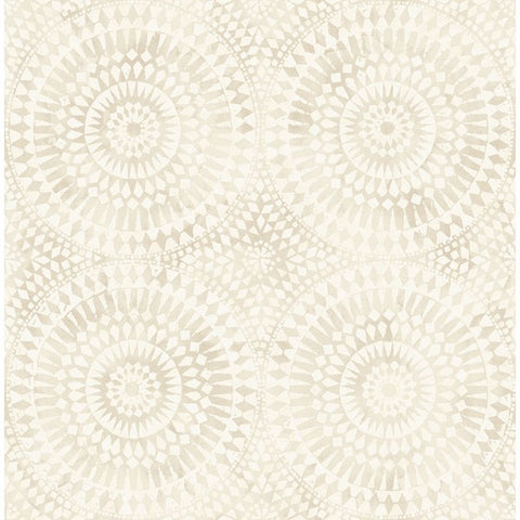 Glisten Circles Wallpaper in Ivory and Pearlescent by Seabrook Wallcoverings