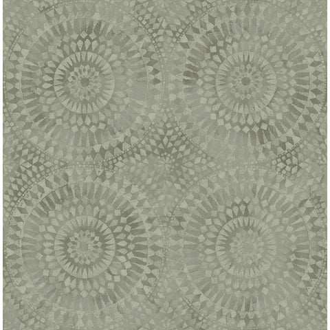 Glisten Circles Wallpaper in Light Silver and Neutrals by Seabrook Wallcoverings